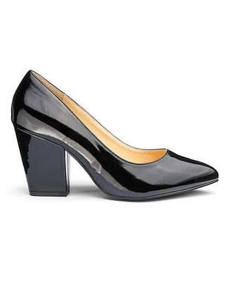 ddd5b72ab77 Heavenly Soles Block Heel Court Shoes EEE Fit
