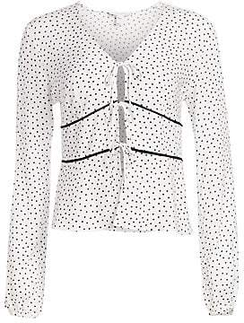 Scripted Women's Tie Front Polka Dot Blouse