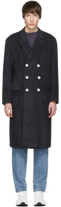 Pyer Moss Navy Striped Double-Breasted Coat