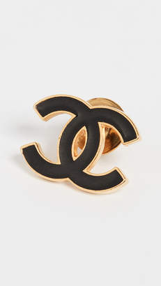 Chanel What Goes Around Comes Around Black Gold Small Pin