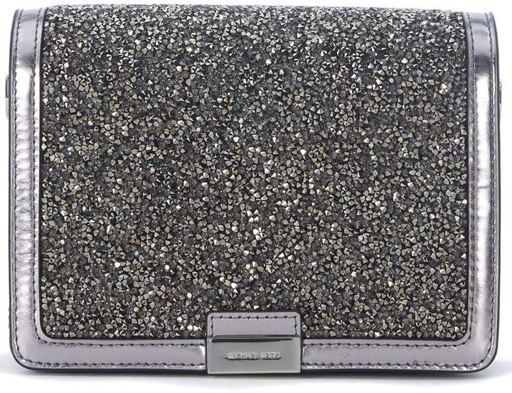 Michael Kors Pochette Jade Pewter Leather With Micro Stones - ARGENTO - STYLE