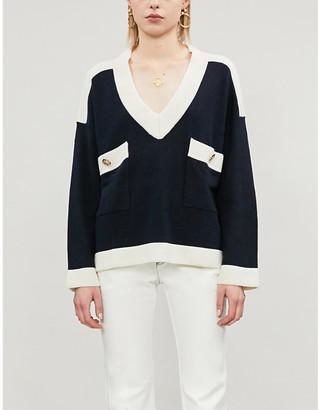 Claudie Pierlot 5005-10150-CFPPU00212Mascy buttoned V-neck wool-blend jumper