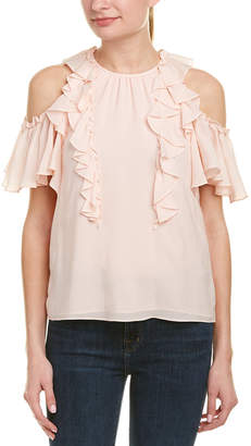 Rebecca Taylor Cold-Shoulder Silk Top