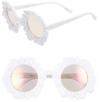 Sam Edelman 43mm Mirrored Round Flower Frame Sunglasses