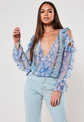 Missguided Lilac Snake Print Ruffle Sleeve Wrap Over Blouse