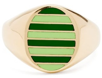 Jessica Biales - Enamel & Yellow Gold Ring - Womens - Green