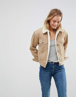Asos Design Cord Jacket With Borg Collar In Stone