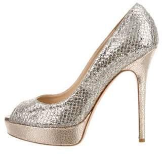 Jimmy Choo Sequin Peep-Toe Pumps Silver Sequin Peep-Toe Pumps