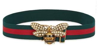 Gucci Sylvie Bee-embellished Elasticated Belt