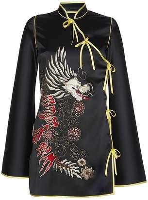 Attico Stella Embroidered Kimono Satin Dress