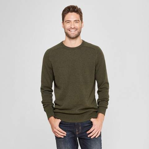 Goodfellow & Co Men's Standard Fit Crew Neck Sweater - Goodfellow & Co Olive Heather
