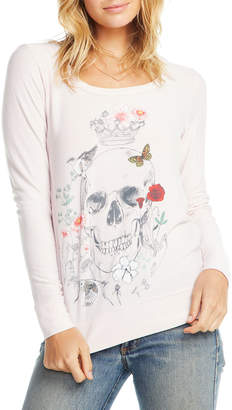 Chaser Hand-Drawn Skull Long Sleeve Graphic Tee
