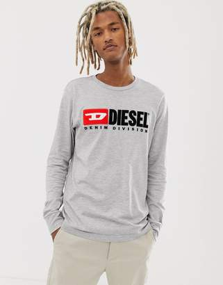 Diesel T-Just-LS-division long sleeve t-shirt in gray