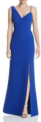 BCBGMAXAZRIA Asymmetric Crepe Gown