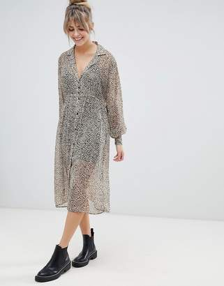 Pull&Bear sheer shirt dress in leopard print