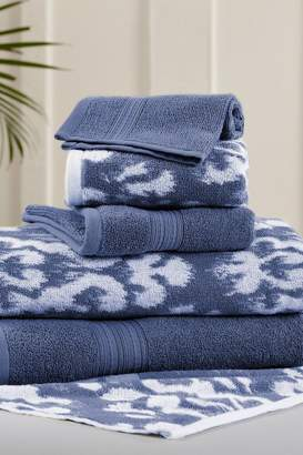 Amrapur Indigo Ikat Damask Reversible Yarn-Dyed Jacquard 6-Piece Towel Set