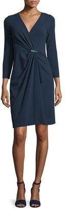 Armani Collezioni 3/4-Sleeve Gathered-Front Dress, Astral Blue $1,095 thestylecure.com