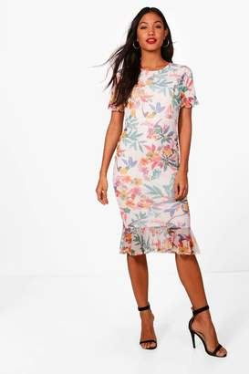 boohoo Print Mesh Frill Sleeve Midi Dress
