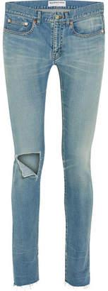 Balenciaga Distressed Mid-rise Skinny Jeans - Blue
