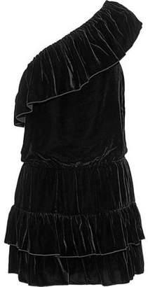 Joie One-Shoulder Ruffled Velvet Mini Dress