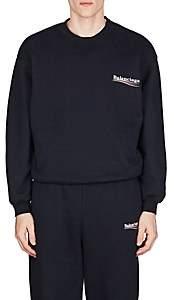 Balenciaga Men's Logo Cotton-Blend Fleece Sweatshirt-Navy