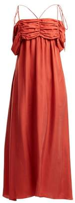 Isa Arfen Ruched Detail Square Neck Silk Dress - Womens - Red