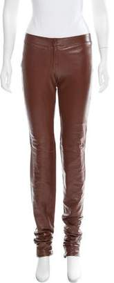 Dolce & Gabbana Leather Mid-Rise Pants