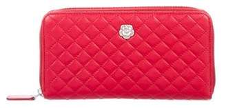 Chanel Camellia Quilted Zip Wallet