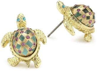 "Betsey Johnson Sea Excursion"" Turtle Stud Earrings"