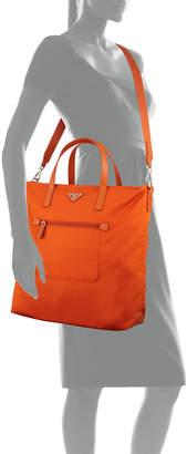Prada Donna Lady Nylon Shopper Tote Bag, Papaya