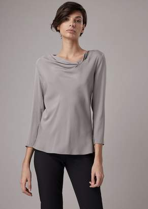Giorgio Armani Mulberry Silk Blouse With Draped Neckline