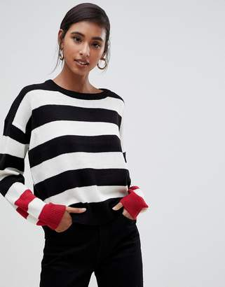 Brave Soul bolt stripe sweater with contrast cuffs