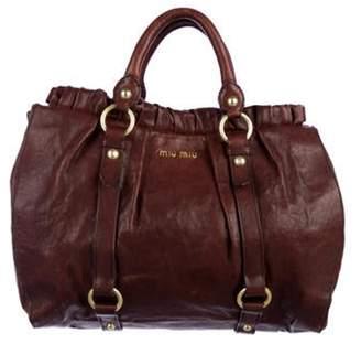 Miu Miu Vitello Lux Leather Satchel gold Vitello Lux Leather Satchel