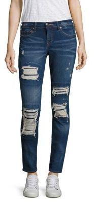 True Religion Halle Distressed Super Skinny Jeans/Indigo Cadence