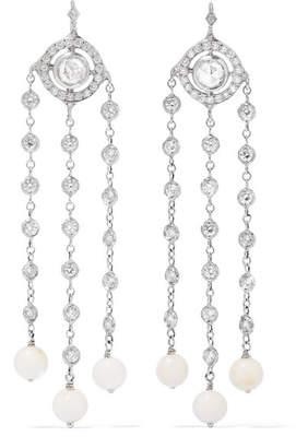 Loree Rodkin Christina 18-karat White Gold, Diamond And Coral Earrings
