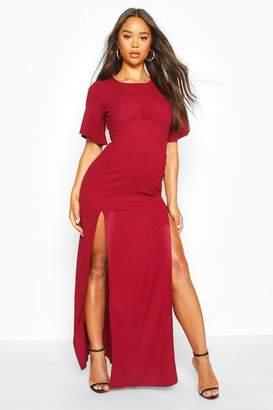 boohoo High Neck Solid Colour Maxi Dress