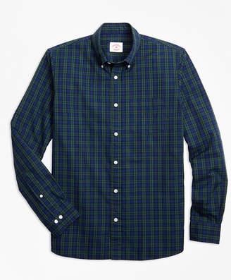 Brooks Brothers Black Watch Tartan Cotton Basketweave Oxford Sport Shirt