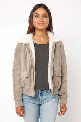 Cupcakes And Cashmere Faux Suede Reversible Shearling Bomber Jacket