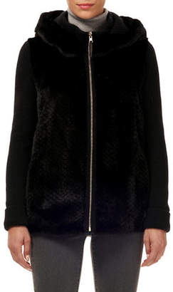 Gorski Punched-Mink Cashmere-Wool Zip-Front Hooded Jacket