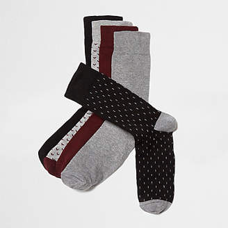 River Island Big and Tall burgundy arrow socks multipack