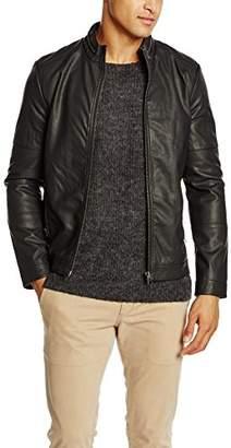 Lindbergh Men's Imitation Leather Jacket (Black), XX-Large