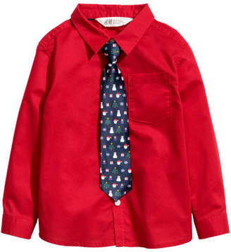 H&M Shirt with Tie/Bow Tie - Red