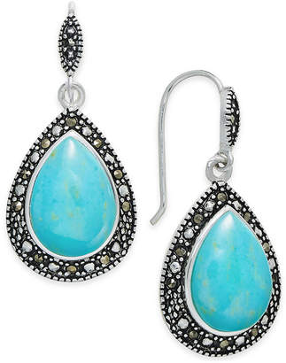 Macy's Manufactured Turquoise & Marcasite Teardrop Drop Earrings in Silver-Plate