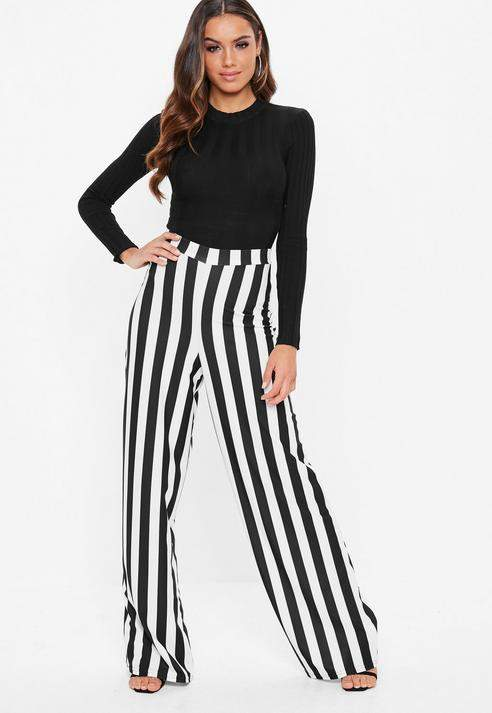 Black Mono Stripe Wide Leg Trousers, Black