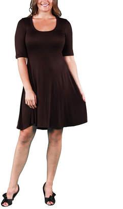 24/7 Comfort Apparel Elbow Sleeve Fit & Flare Dress-Plus