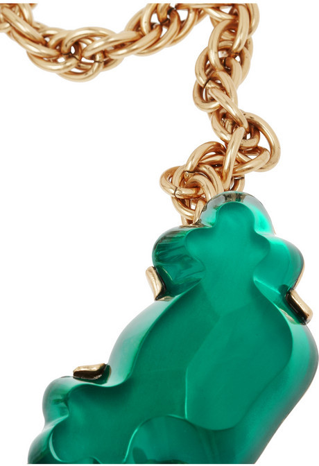 Oscar de la Renta Gold-plated cabochon necklace