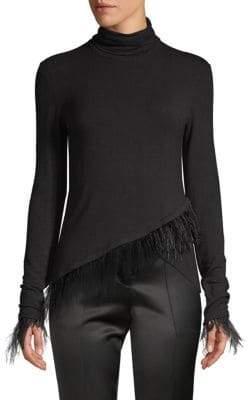 Josie Natori Stretch Knit Feather Top