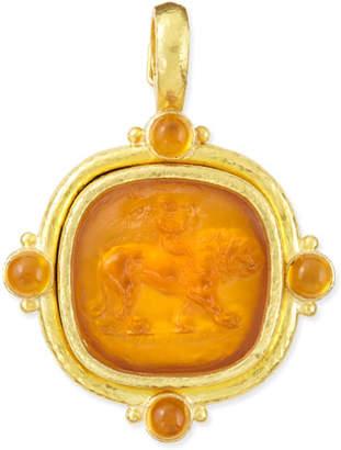 Elizabeth Locke Cupid Riding Lion Intaglio Pendant, Amber