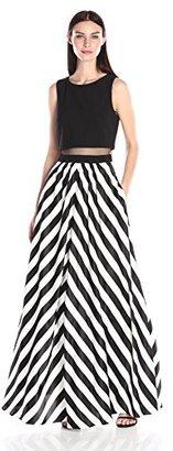 Betsy & Adam Women's Mock 2pc Stripe Gown $229 thestylecure.com