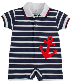 Florence Eiseman Anchor Pique-Knit Short-Playsuit, Navy/White, 3-9 Months